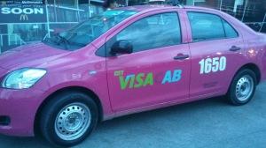 Pink Visa cab, blue Mastercard, orange Orange Taxi, etc.