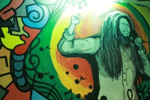 Bob Marley on the wall