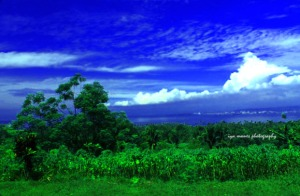 the view of Davao gulf and the distant city.
