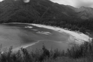 The Anawangin Cove in B&W (intentionally). It just rained and the water from the creek was murky. It's not appealing in colored.